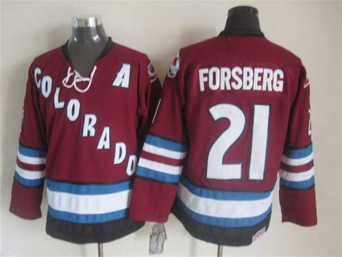 Men's Colorado Avalanche #21 Peter Forsberg 2001-02 Red CCM Vintage Throwback Jersey