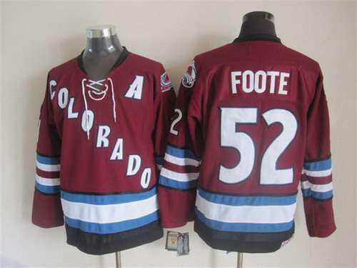 Men's Colorado Avalanche #52 Adam Foote 2001-02 Red CCM Vintage Throwback Jersey