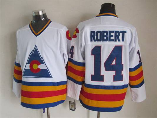 Men's Colorado Rockies #14 Joe Robert 1976-77 White CCM Vintage Throwback Jersey