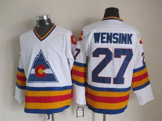 Men's Colorado Rockies #27 John Wensink 1976-77 White CCM Vintage Throwback Jersey