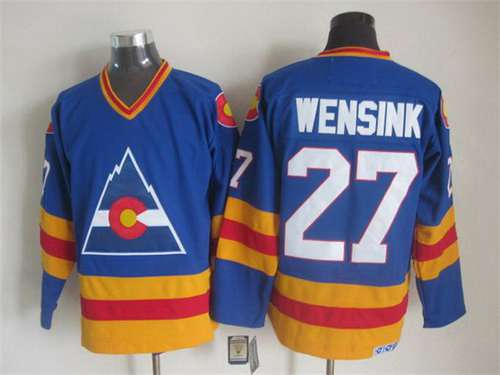 Men's Colorado Rockies #27 John Wensink 1977-78 Blue CCM Vintage Throwback Jersey