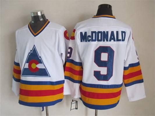 Men's Colorado Rockies #9 Joey MacDonald 1976-77 White CCM Vintage Throwback Jersey