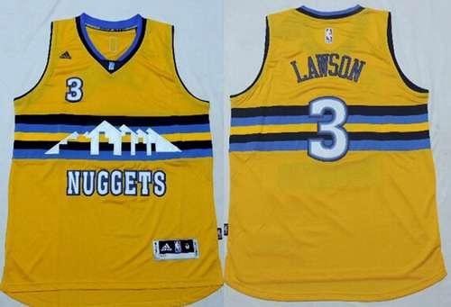 Men's Denver Nuggets #3 Ty Lawson Revolution 30 Swingman 2014 New Yellow Jersey