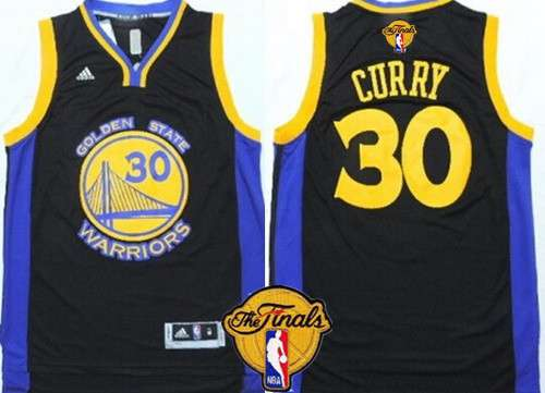 Men's Golden State Warriors #30 Stephen Curry 2015 The Finals New Black Jersey