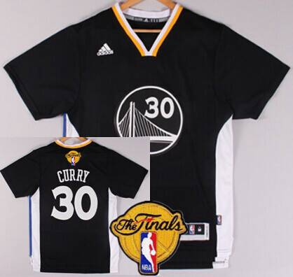 Men's Golden State Warriors #30 Stephen Curry 2015 The Finals New Black Short-Sleeved Jersey