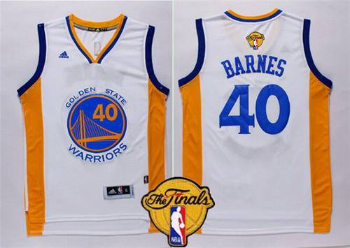 Men's Golden State Warriors #40 Harrison Barnes 2015 The Finals New White Jersey