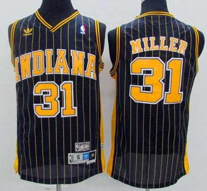 Men's Indiana Pacers #31 Reggie Miller Navy Blue Pinstirpe Hardwood Classics Soul Swingman Throwback Jersey
