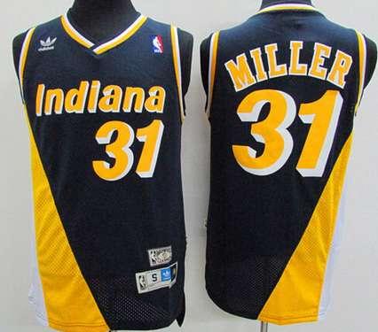 Men's Indiana Pacers #31 Reggie Miller Navy Blue With Yellow Hardwood Classics Soul Swingman Throwback Jersey