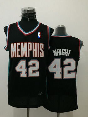 Men's Memphis Grizzlies #42 Lorenzen Wright Black Hardwood Classics Soul Swingman Throwback Jersey