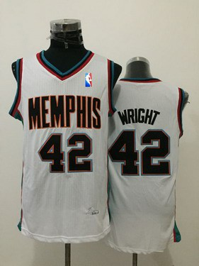 Men's Memphis Grizzlies #42 Lorenzen Wright White Hardwood Classics Soul Swingman Throwback Jersey