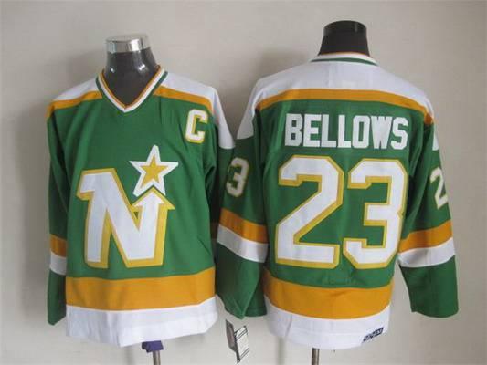Men's Minnesota North Stars #23 Brian Bellows 1978-79 Green CCM Vintage Throwback Jersey