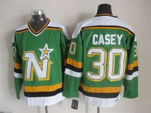 Men's Minnesota North Stars #30 Jon Casey 1988-89 Green CCM Vintage Throwback Jersey