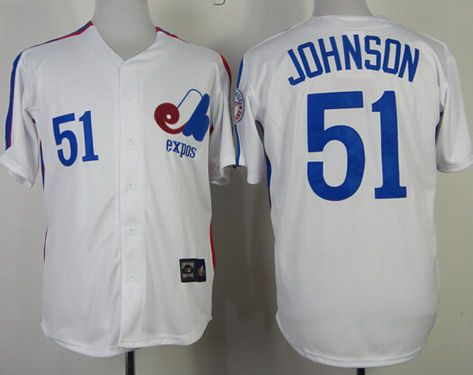 Men's Montreal Expos #51 Randy Johnson 1982 White Mitchell & Ness Jersey