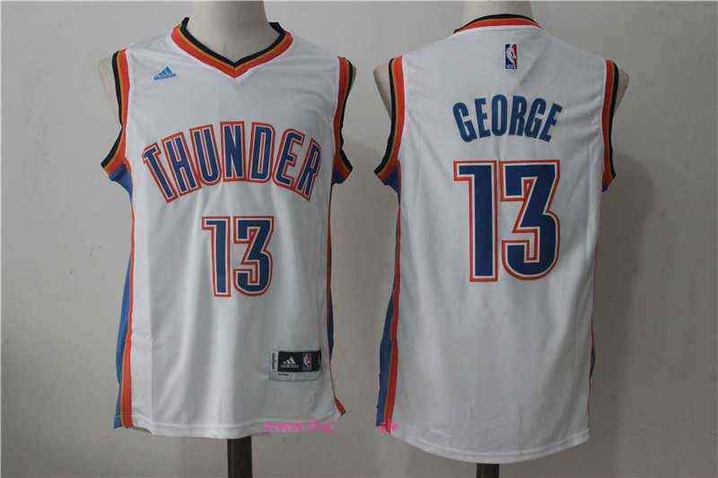 Men's Oklahoma City Thunder #13 Paul George White Stitched NBA Adidas Revolution 30 Swingman Jersey