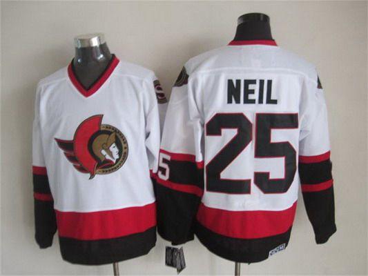 Men's Ottawa Senators #25 Chris Neil 1997-98 White CCM Vintage Throwback Jersey