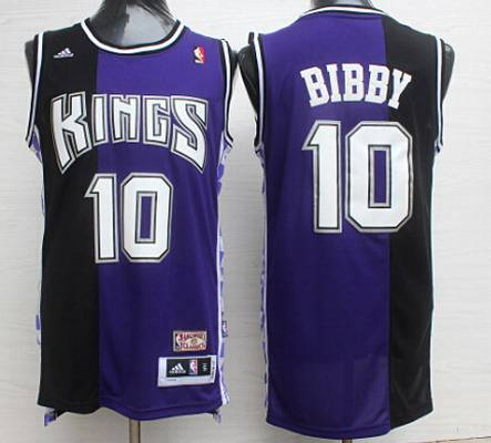 Men's Sacramento Kings #10 Mike Bibby PurpleBlack Hardwood Classics Soul Swingman Throwback Jersey
