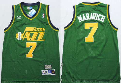 Men's Utah Jazz #7 Pete Maravich Green Hardwood Classics Soul Swingman Throwback Jersey
