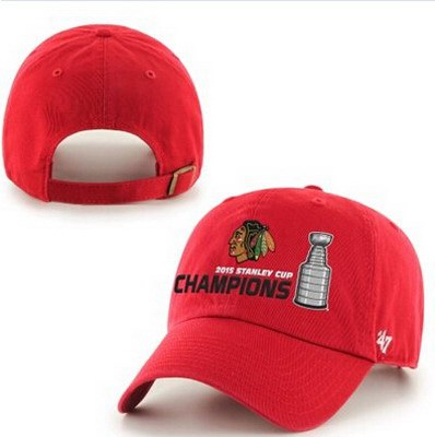 NHL Chicago Blackhawks 47 Brand Red 2015 Stanley Cup Champions Clean-Up Adjustable Hat