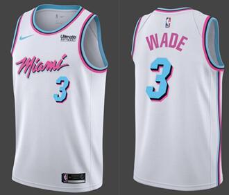 Nike Heat #3 Dwyane Wade White NBA Swingman City Edition Jersey