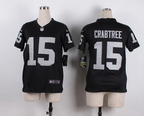 Youth Oakland Raiders #15 Michael Crabtree Nike Black Game Jersey