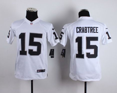 Youth Oakland Raiders #15 Michael Crabtree Nike White Game Jersey