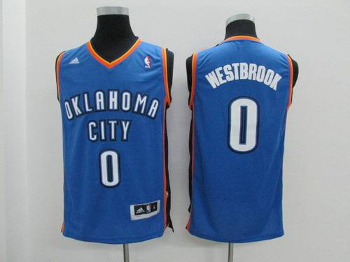 Youth Oklahoma City Thunder #0 Russell Westbrook Light Blue Jersey