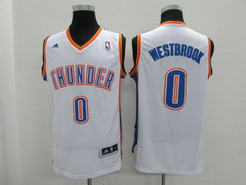 Youth Oklahoma City Thunder #0 Russell Westbrook White Jersey