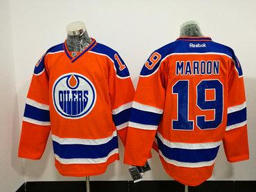Men's Reebok Edmonton Oilers #19 Patrick Maroon Premier Orange Third NHL Jersey