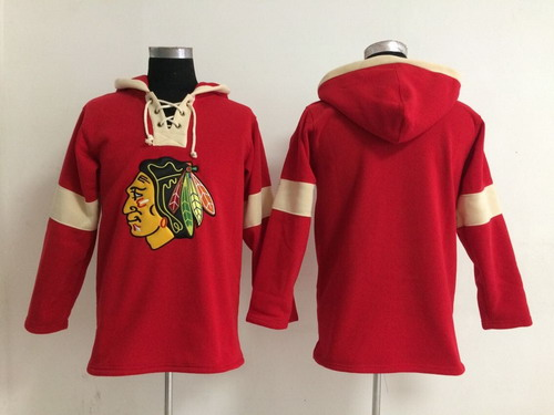 2014 Old Time Hockey Chicago Blackhawks Blank Red Hoodie
