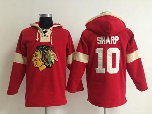 2014 Old Time Hockey Chicago Blackhawks #10 Patrick Sharp Red Hoodie