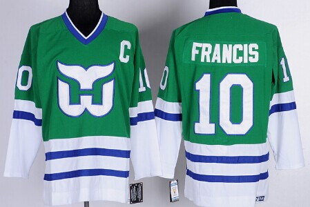 Hartford Whalers #10 Ron Francis Green Throwback CCM Jersey