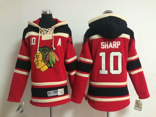 Old Time Hockey Chicago Blackhawks #10 Patrick Sharp Red Kids Hoodie