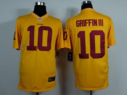 Nike Washington Redskins #10 Robert Griffin III Yellow Game Jersey ...
