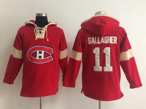 2014 Old Time Hockey Montreal Canadiens #11 Brendan Gallagher Red Hoodie