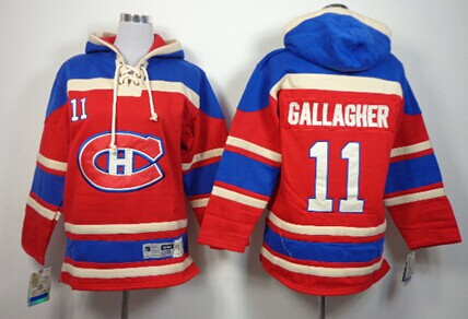 Old Time Hockey Montreal Canadiens #11 Brendan Gallagher Red Kids Hoodie