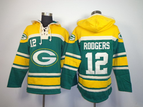 Green Bay Packers #12 Aaron Rodgers 2014 Green Hoodie