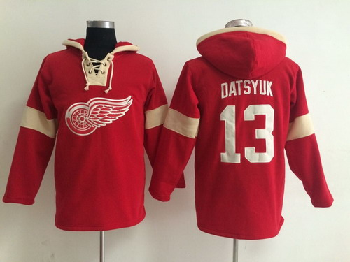 2014 Old Time Hockey Detroit Red Wings #13 Pavel Datsyuk Red Hoodie
