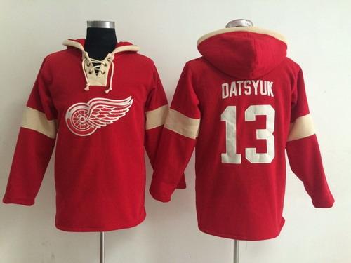 2014 Old Time Hockey Detroit Red Wings #13 Pavel Datsyuk Red Hoodie