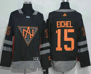 Men's North America Hockey #15 Jack Eichel Black 2016 World Cup of Hockey Stitched adidas WCH Game Jersey