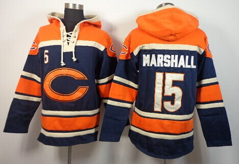 Chicago Bears #15 Brandon Marshall 2014 Blue Hoodie