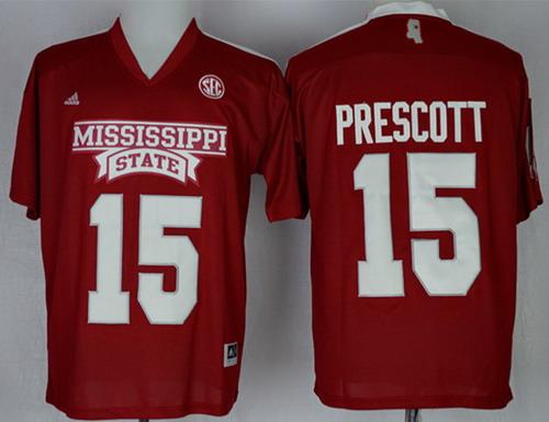 Mississippi State Bulldogs #15 Dak Prescott 2014 Red Jersey