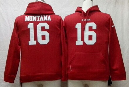 Nike San Francisco 49ers #16 Joe Montana Red Kids Hoodie