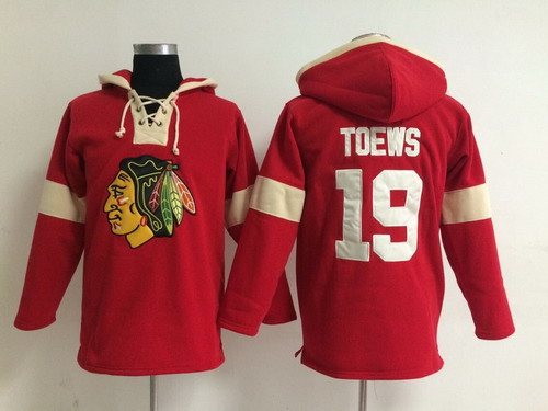 2014 Old Time Hockey Chicago Blackhawks #19 Jonathan Toews Red Hoodie