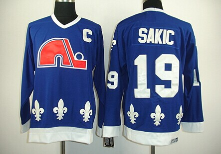Quebec Nordiques #19 Joe Sakic Navy Blue Throwback CCM Jersey