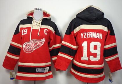 Old Time Hockey Detroit Red Wings #19 Steve Yzerman Red Kids Hoodie