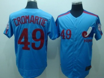 Montreal Expos #49 Warren Cromartie 1982 Blue Throwback Jersey