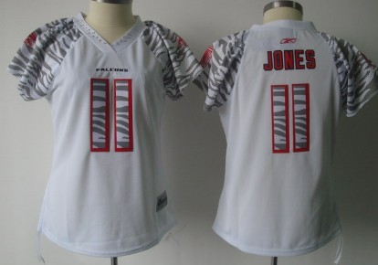 Atlanta Falcons #11 Julio Jones White Womens Zebra Field Flirt Fashion Jersey