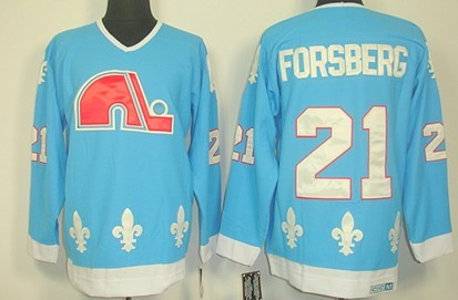 Quebec Nordiques #21 Peter Forsberg Light Blue Throwback CCM Jersey