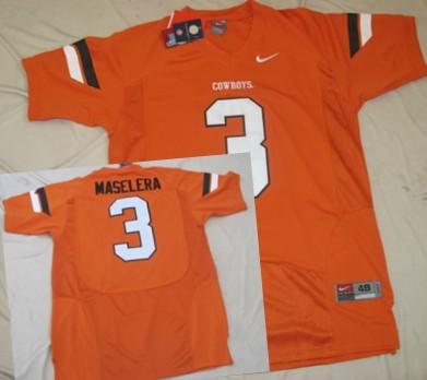 Oklahoma State Cowboys #3 Isaac Maselera Orange Jersey