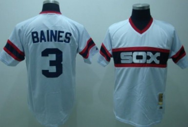 49c57fea Chicago White Sox #3 Harold Baines 1983 White Pullover Throwback Jersey